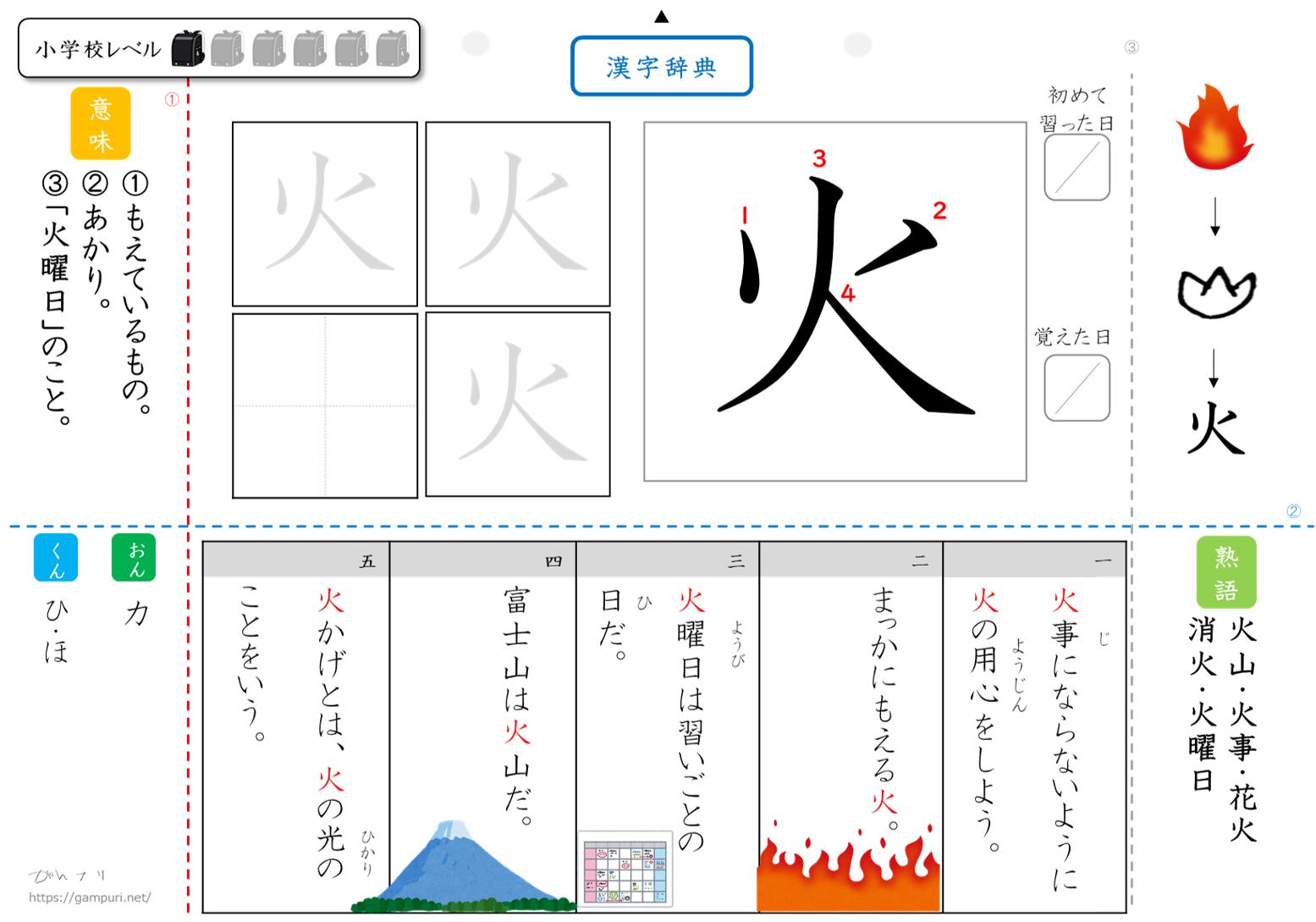 漢字ドリル,漢字プリント,成立ち火